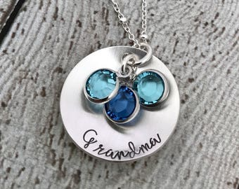 Birthstone Necklace for Grandma, Nana Necklace, Mothers Day Gift for Grandma, Grandmother Necklace, Birthstone Jewelry for Mom, Mom Jewelry