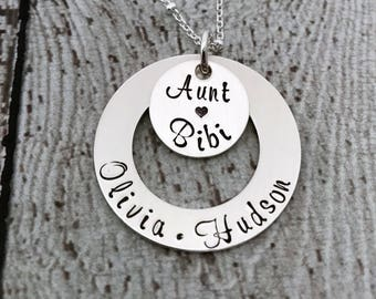 Aunt Necklace, Gift for Aunt, Aunt Jewelry, Personalized Aunt Gift, Personalized Aunt Charm, Necklace for Aunt, Personalized Gift for Sister