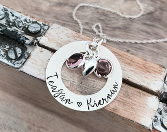Hand Stamped Names Personalized Custom Gift for Mom Charm Necklace Heart Charm Diamond Chandelier Cluster Mother of Twins Necklace
