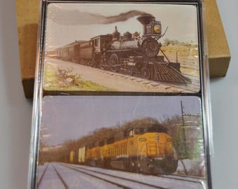 eb1701 VINTAGE Playing Cards NIP Locomotives Trains...original packaging....
