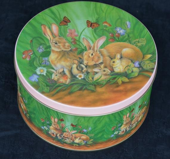 """eb3341 Tin lapin rond métal deux lapins 4 bébés 6-3/8"""" de diamètre x 3-1/2"""" de hauteur"""