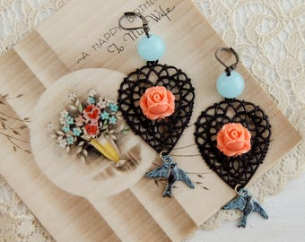 Homemade upcycled boho earrings / bird earrings / rose earrings / vintage beads / boho jewelry / blue birds / boho chic / upcycled jewelry