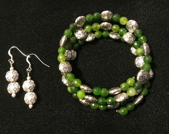 Peridot and Pewter Bracelet and Earring Set