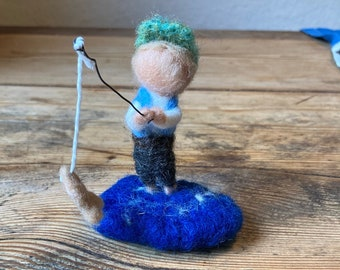 Boy with angel needle felted