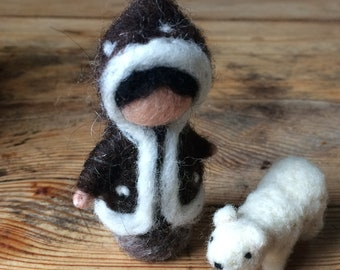 Child needle-felted Arctic with small polar bear for mobile or seasonal table