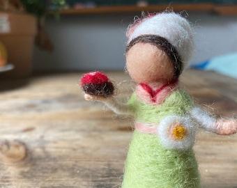 Needle felted apple girl with ladybug