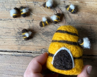 Needle felted hive with 8 small bees for mobiles