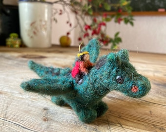 Dragon Rider needle felted Mobile