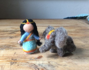 Child needle-felted Indian room with small elephant for mobile or seasonal table