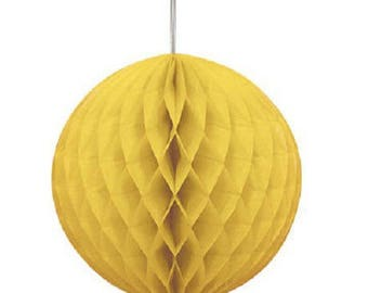 Hanging honeycomb ball dimpled yellow 20cm