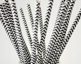 10 black zigzag chevron patterned retro paper straws