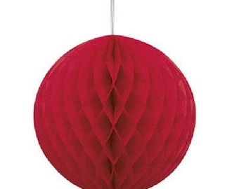 Hanging honeycomb ball dimpled red 20cm