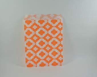 8 sachets en papier à motif arabesque orange
