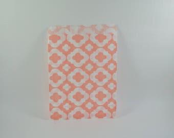 8 sachets en papier à motif arabesque saumon