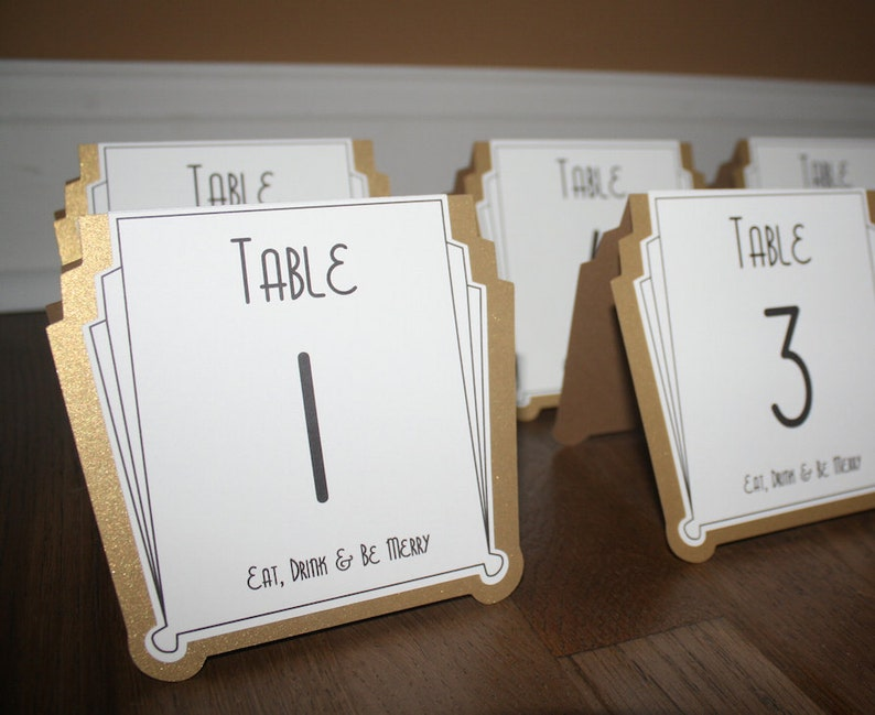 Art Deco Table Numbers Shimmer Gold Or Silver Gatsby Weddings Roaring 20s Parties