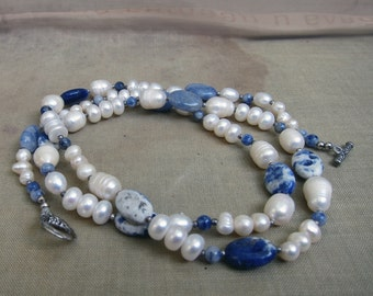 Artisan Art Necklace Gemstone Pearls Aquamarine Sodalite Cultured Pearl , clasp
