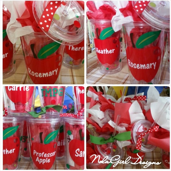 Teacher gift drink tumbler, Teacher Appreciation,School Teacher, personalized gift, Teaching assistant, apple decal, school nurse, school