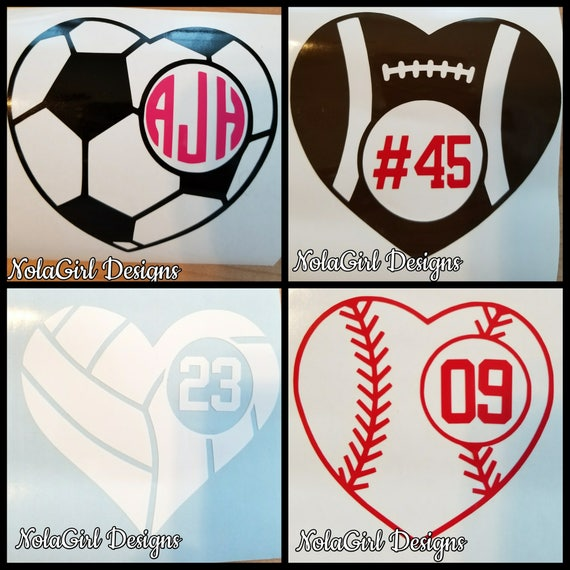 Football Decal, Baseball Decal, Soccer Decal, Volleyball Decal, Sports Ball Heart Decals, Laptop decal, Heart Monogram Decals, High School