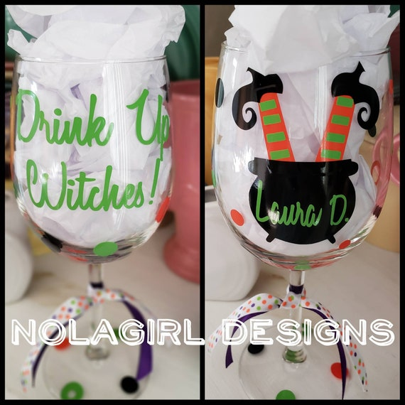 Halloween Drink up Witches Wine Glass, Cauldron Wine Glass, Stemless Glasses, Witches, Halloween Party Favor Teacher Personalized gifts