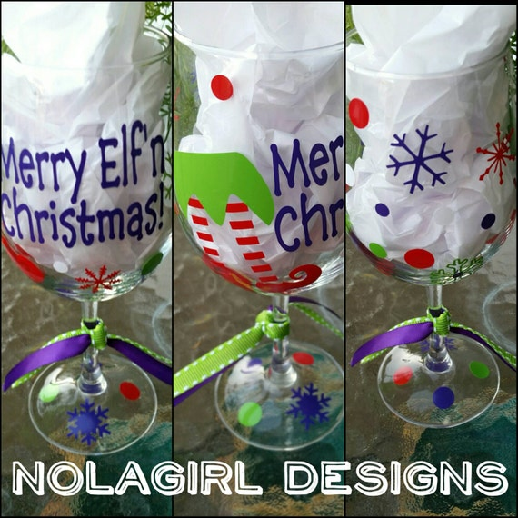 Merry Elfin Christmas Wine Glass, Christmas Stemless Wine glass, Christmas party Favor, Elf skirt and shoes, Fun Purple Glasses, Party time