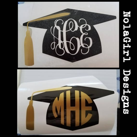 Graduation Class of 2020 Cap Decal, Monogram lap top decal, Car Decal, College Grad, High School Graduate, Monogram decals, class of 2021
