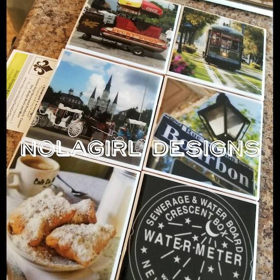 New Orleans Coaster Set, NOLA decir, French Quarter, Housewarming, photograph, Louisiana, Wedding favor, Gift, Souvenir, home decor items