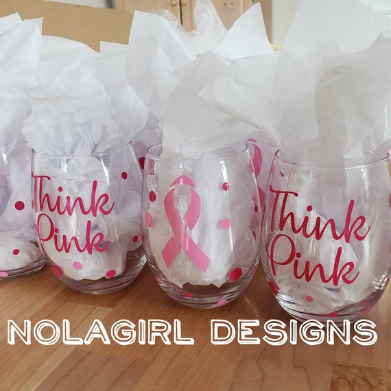 Breast Cancer Awareness gift, Wine Glass, Think Pink, Fight Like A Girl,  Wine glass gift, Ladies, Pink Ribbon, personalized, Survivor