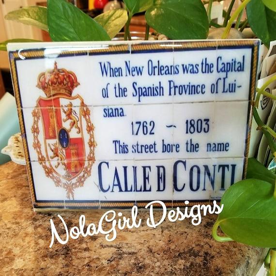New Orleans Louisiana, French Quarter, Spanish Tile Replicas, Decorative New Orleans inspired Art, Historic NOLA, Home Decor, Crescent City