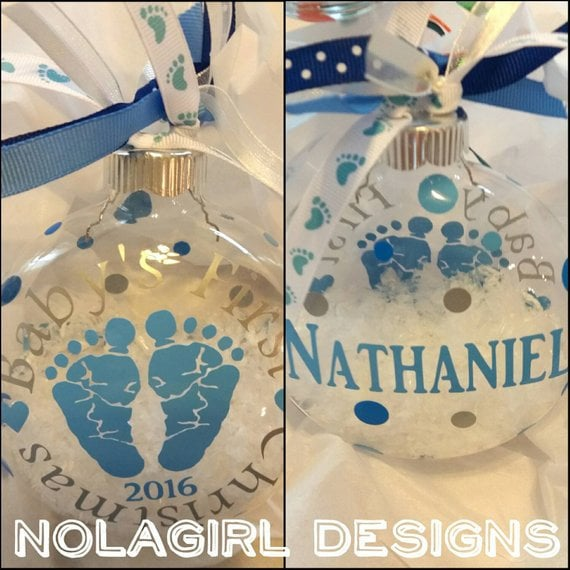 Baby's First Christmas Ornament, glass ornament, Baby's Christmas Ornament, 1st Big Brother Ornament, Baby Feet, Personalized, Big Sister