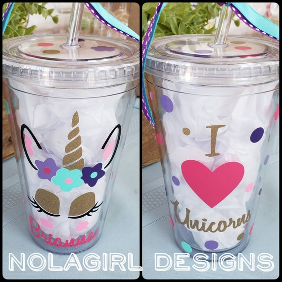 Unicorn cup, Girl tumbler, Teen gift,  Unicorn Birthday Girl, Glitter Vinyl, I Love Unicorns, Party Favor, Personalized drinking cup, Gifts
