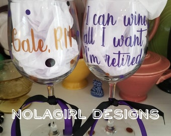 Retirement, Wine Glass, This wine tastes like retirement, Personalized, Gift for her, Retired, AARP, Custom Designed glass, Fun, Funny