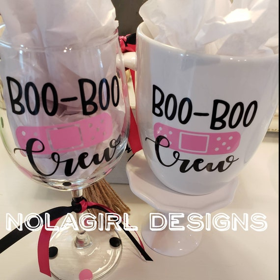 School Nurse Wine Glass, Boo Boo Crew, back to school, Teachers Aid, Funny wine glass, Personalized wine glass, School nurses coffee cup