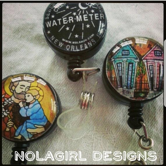 New Orleans Nurse ID Badge Reels, Custom images, NOLA images, Teacher badge reels, Nurse appreciation week 2020, Wearable Art, Personalized