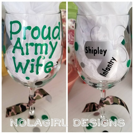 Military Mom Wine Glass, Proud Military Wife, Proud Military Dad, Deployment Glass, Military Family gifts, Basic training Graduation gifts