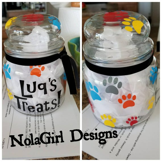 Treat Jars for Pets, Dog Treat Container, Cat Treat Jar, Personalized Pet Gifts, Bones and fish decorated jars, Storage for dog treats, Gift