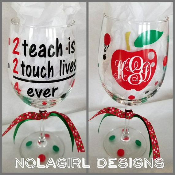 School Teacher Wine Glass, Math Teacher tumblers, Monogrammed Gifts, Teachers touch lives, Personalized Apple, Teaching assistant, 2 teach
