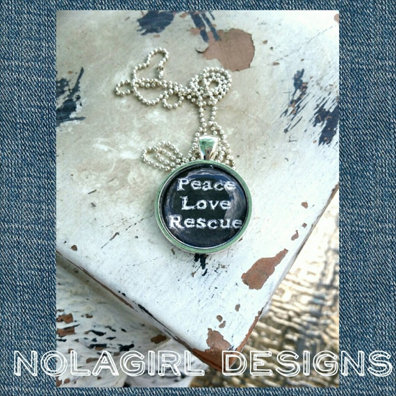 Dog Rescue Necklace, Jewelry, Dog Necklace, Peace Love Rescue, Paws, Ladies Jewelry, Teen Gift, I Love Rescues, Cat Rescue, Animal Shelter