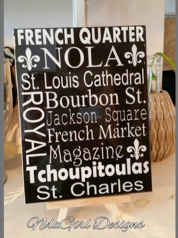 New Orleans Street Sign, Places, Decorative Tile, Nola landmarks,  Famous Streets, Home Decor, French Market, bourbon Street, Hostess gift