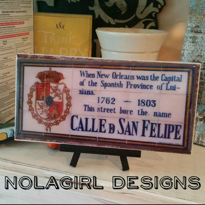 New Orleans Spanish Tile Replica Home Decor New Orleans Wedding Favor French Quarter Street Tiles Cresent City Signs Louisiana Art
