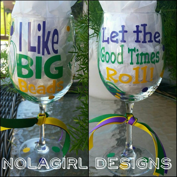 Mardi Gras Beer glass, Wine glass, NOLA, Party Favor,I like BIG BEADS, Bachelorette Party, Mardi gras drink Cup, Beads masks parades