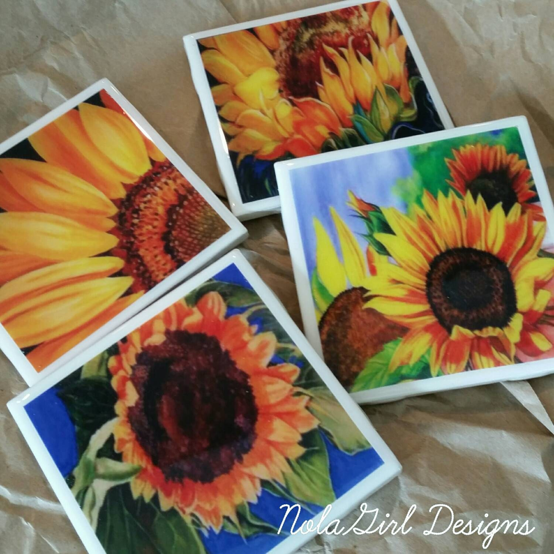Home Decor Hostess Gifts: Sunflower, Coaster Set, Wine Coaster, Drink Coasters