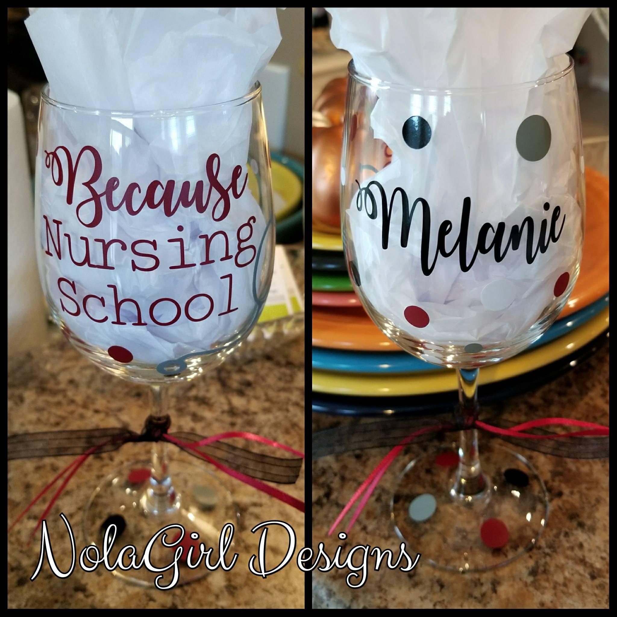 721ceff8d15 Nursing School Wine Glass, Personalized, School Nurse, Pinning Gift ...