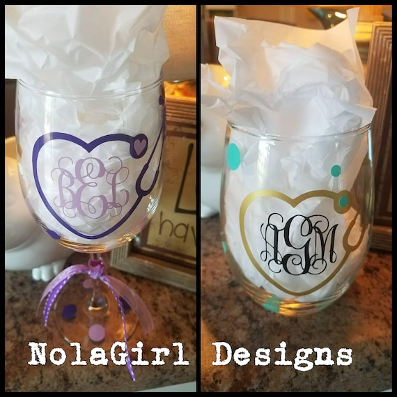 Monogram Nurse Gift, Stethoscope Wine Glass, Gifts for her, RN, LPN, School Nurse, Nursing school Pinning gift, NICU, Personalized Glass