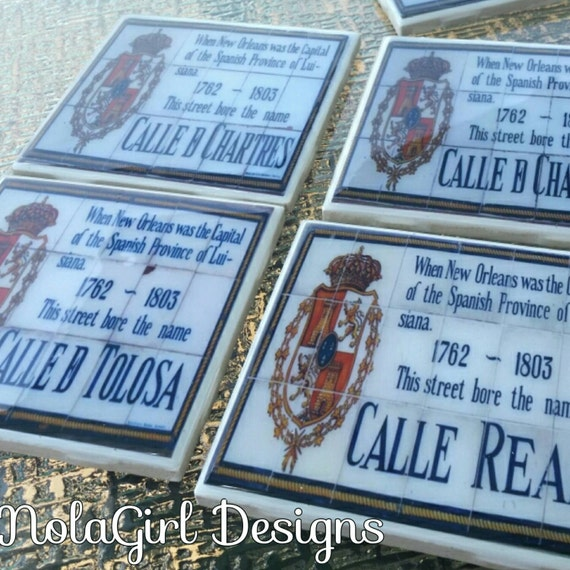 New Orleans Coaster Set, Historic French Quarter,  Spanish Tile Replicas, Wedding Favors, Corporate Gifts, drink coaster, Hostess Gift, NOLA
