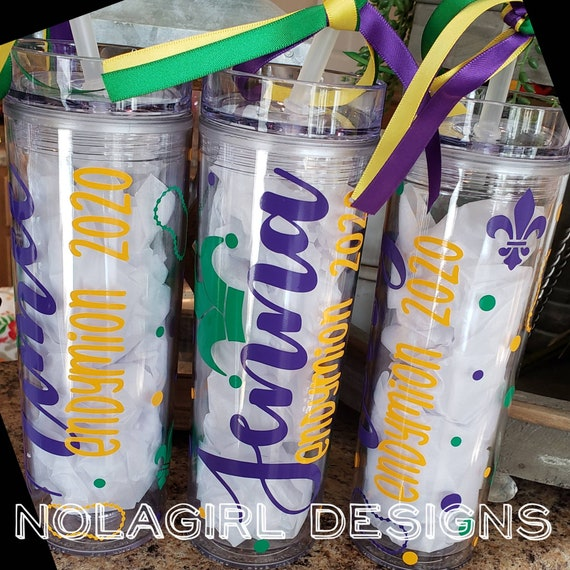 Mardi Gras skinny Tumbler, Drink Cup, Personalized, Birthday Celebration, Bachelorette Party in New Orleans, Wedding party, NOLA parades