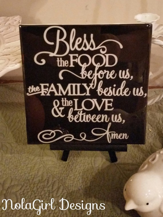 Kitchen Decoration, Bless this Food, Home Decor, Housewarming Gift, Dining Room Sign, Custom colors, Home decor, Family, Blessed, Amen, Gift