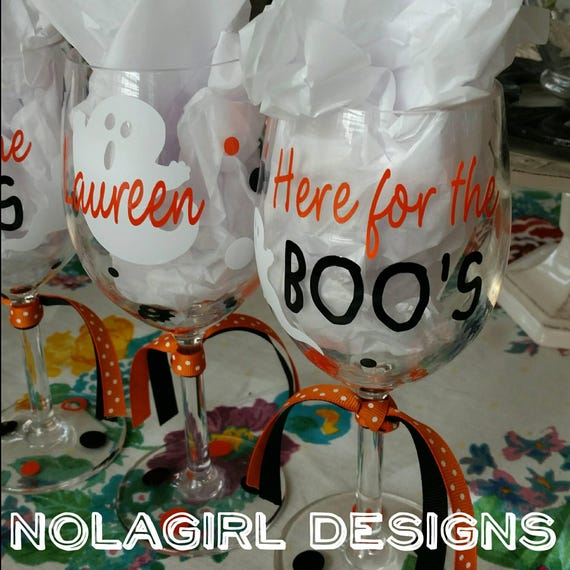 Halloween Wine Glass,Here for the Boo's , Trick or Treat, Halloween wine glass, Spider Webs, Party favor, Teacher Gifts, Ghost wine glass