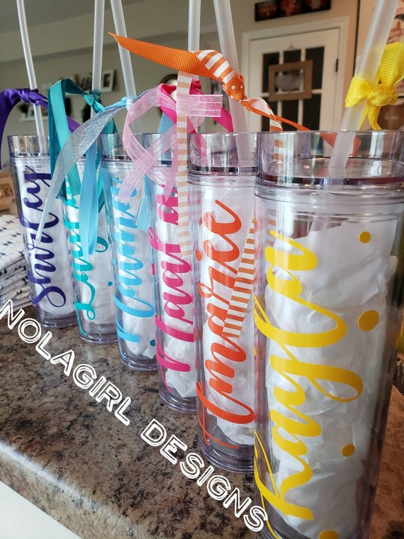 Personalized Skinny Tumbler, Birthday gift,  sweet 16 gift, Birthday Party Favor, Slumber Party Favors, Tween Bday gift, Bachelorette favor