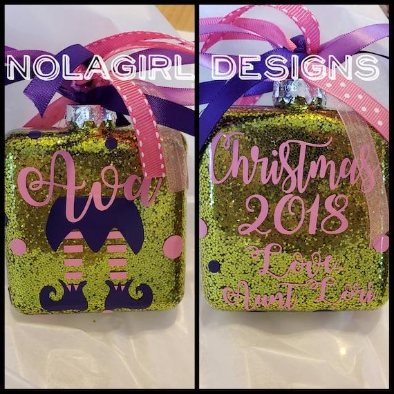 Elf Christmas Ornament, Personalized Ornament, Monogram, Elf Girl Ornament Gift, Gift for girls, Custom Design, Fun Christmas tween gifts
