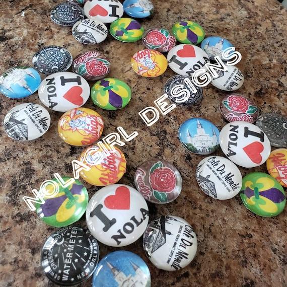 I LOVE NOLA Magnet set, New Orleans Magnet Set, Party Favor, wedding favor, NOLA Love Magnets, Mardi Gras, kitchen decor, fridge magnet, fun